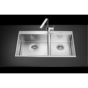 MEX INSET SINK 2 BOWLS SQUARE-ROUND Mod.SR872 (S/S)