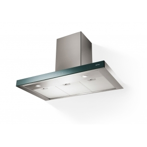 METRIX 90 CM T-SHAPE FRONT BLACK GLASS AND S/T STEEL CHIMNEY HOOD Mod.STILINO